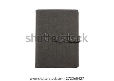Close up Black leather case isolated on white background. #272368427
