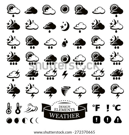 Collection of different weather icons vector illustration #272370665