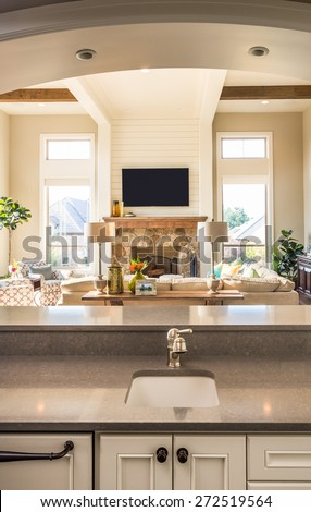 Room in Luxury House: View of Living Room From Kitchen, Including Fireplace, TV, Couch, Windows, Sink, Cupboards, Countertop, and Arch #272519564