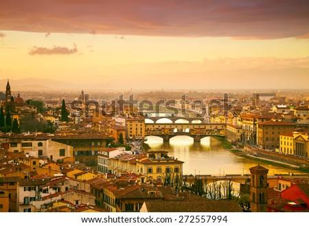 Sunset view of bridge Ponte Vecchio. Florence, Italy #272557994