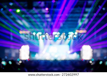 Blurred background : Bokeh lighting in concert with audience ,Music showbiz concept #272602997