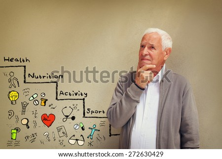 photo of senior man looking concerned about medical and health issues with set of infographics