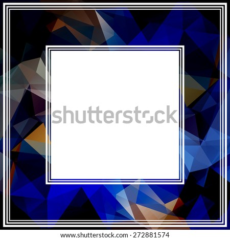 Dark abstract polygonal border with multicolored triangles. #272881574