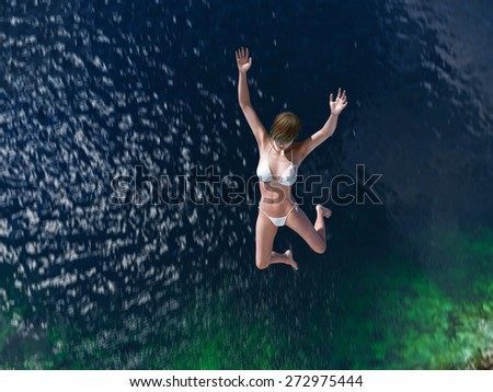 woman jumping in the blue sea #272975444