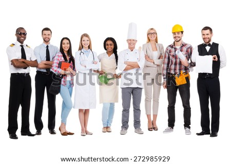 Choose your profession. Group of diverse people in different occupations standing close to each other and against white background and smiling Royalty-Free Stock Photo #272985929