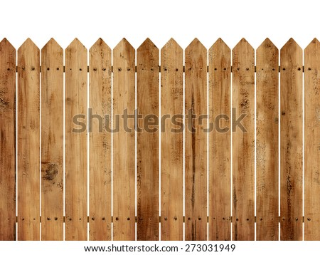 Wooden fence background isolated over white background Royalty-Free Stock Photo #273031949