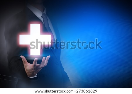 businessman with medical sign on abstract background .health,insurance #273061829
