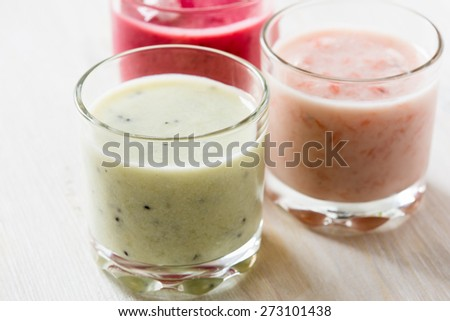 Healthy smoothies collection with fruits and vegetables, diet and healthy eating concept #273101438
