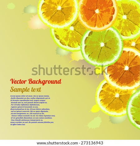 Vector greeting card, background with the image slices of orange, lemon, lime on a green background. Can be used to design advertising citrus. Space for text. #273136943
