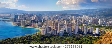 Spectacular view of Honolulu city, Oahu, Hawaii #273158069