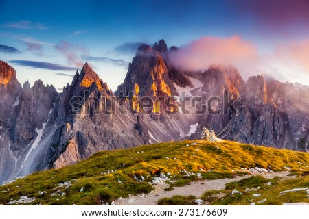 Great view of the top Cadini di Misurina range in National Park Tre Cime di Lavaredo. Dolomites, South Tyrol. Location Auronzo, Italy, Europe. Dramatic unusual scene. Beauty world.