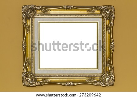 Gold picture frame on the wall #273209642