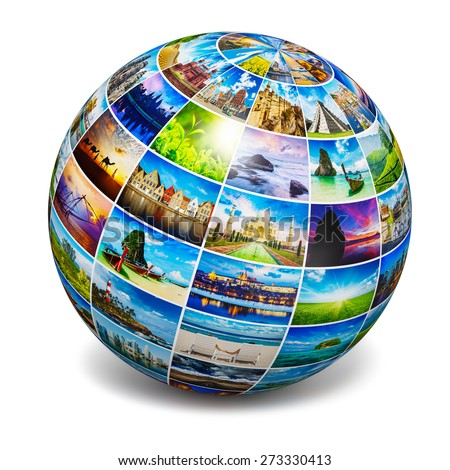 Global travel media world globe concept - picture sphere with travel images isolated on white. All photos are from my portfolio.