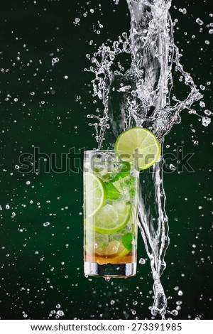 fresh mojito drink with liquid splash and drift, freeze motion. #273391985