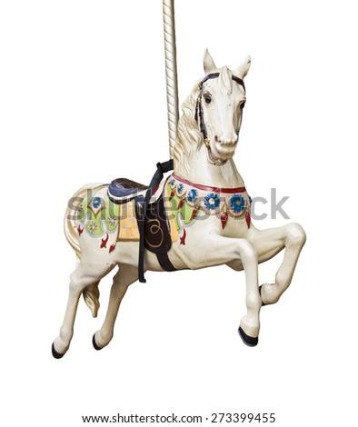 Carousel horse isolated on white background Royalty-Free Stock Photo #273399455