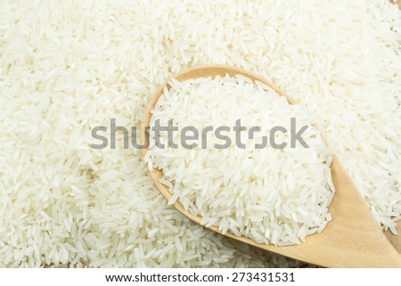 Raw white rice in wooden spoon #273431531