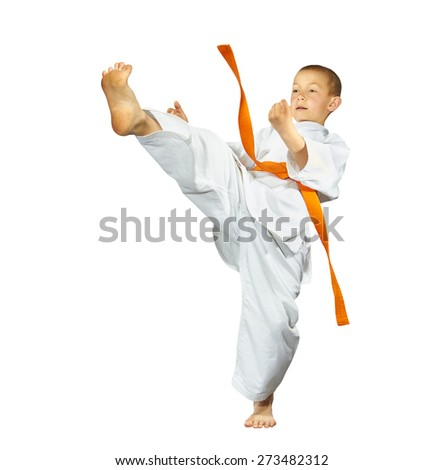 Boy with red belt makes the high kick #273482312