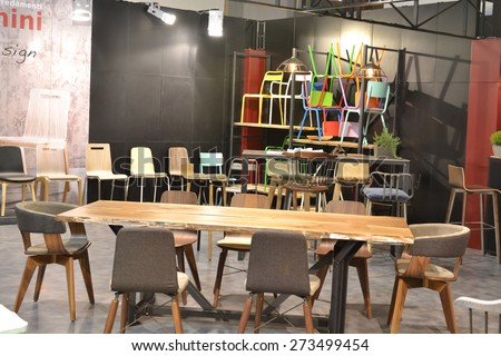 MILAN, ITALY - APR 14: Salone del Mobile, international furnishing accessories exhibition in Milan, Italy- April 14, 2015  #273499454