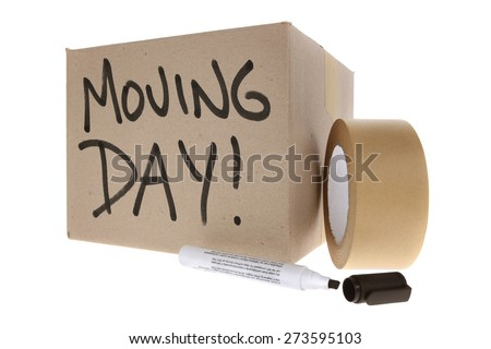 Cardboard Box labelled moving day