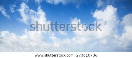 Blue sky and white clouds, abstract panoramic nature photo background