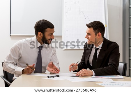 Managers are discussing. Royalty-Free Stock Photo #273688496