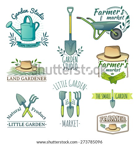Set of vintage color retro logos, badges, badges, labels. Instruments, Shop garden, farm, organic garden. Vector.