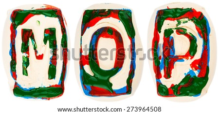 Letters made of white clay  painted with colorful acrylic paints isolated on white #273964508