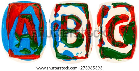 Letters made of white clay  painted with colorful acrylic paints isolated on white #273965393