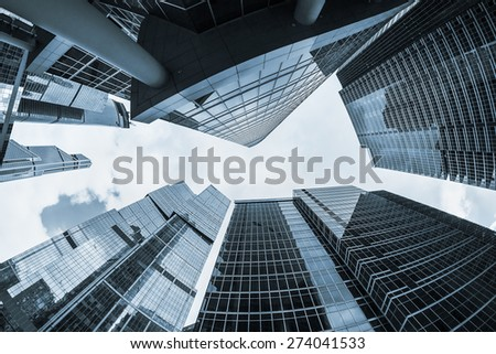 futuristic modern skyscrapers of glass and metal. Focus on buildings. toned photo #274041533