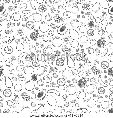 Vector fruits pattern. Fruits seamless background #274170314