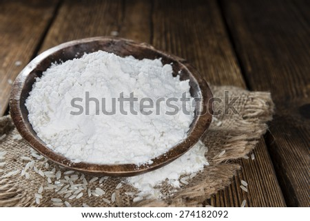 Portion of Rice Flour on vintage wooden background #274182092