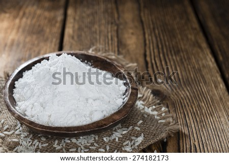 Heap of Rice Flour(close-up shot) on wooden background #274182173