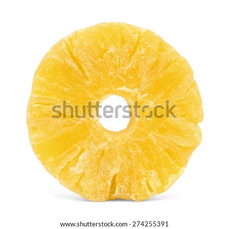 A whole ring of dried candied pineapple, isolated on white background. #274255391