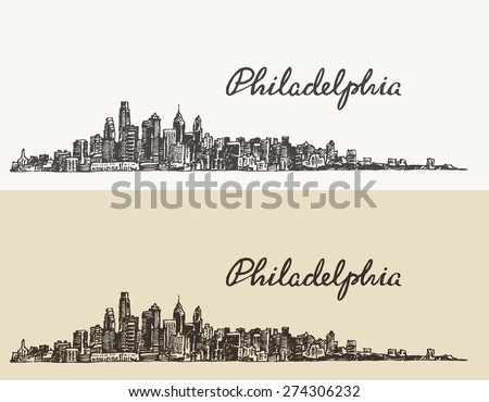 Philadelphia skyline, big city architecture, vintage engraved vector illustration, hand drawn, sketch.