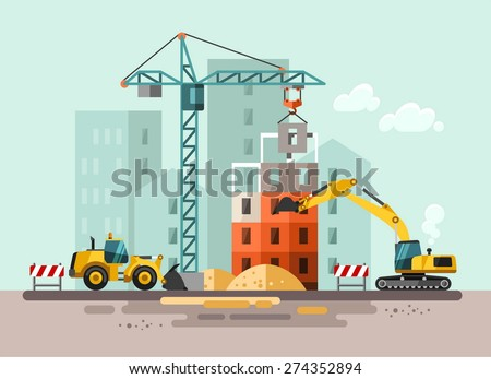 Construction site, building a house - vector flat illustration. Royalty-Free Stock Photo #274352894