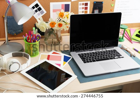 Working place of designer, close-up #274446755