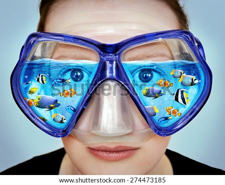 Goggles for diving. Idea, concept graphic. Photo manipulation with soft oil painting filter.