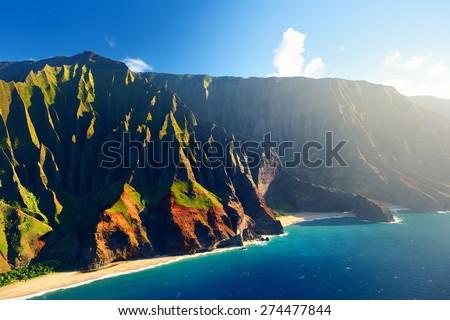 Beautiful aerial view of spectacular Na Pali coast, Kauai, Hawaii #274477844