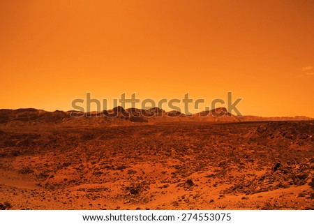Deserted terrestial planet in orange colors