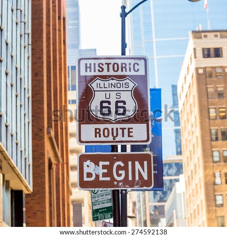 Route 66 sign, the beginning of historic Route 66, leading through Chicago, Illinois. #274592138