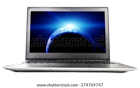 Laptop with planet on screen,  Elements of this image furnished by NASA #274769747