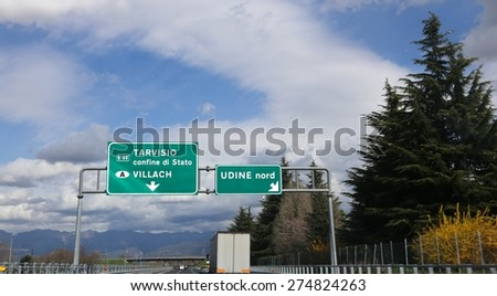 big road signal in the italian highway with direction