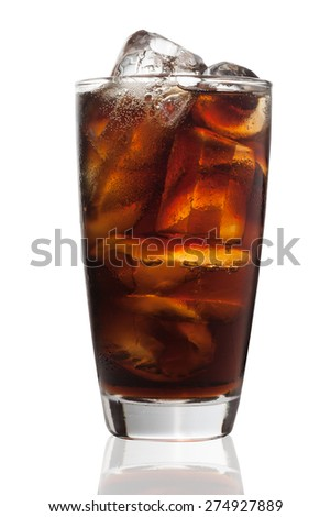 Glass of Ice Cola Isolated on White Background #274927889
