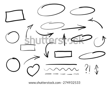 Arrows circles and abstract doodle writing design vector set Royalty-Free Stock Photo #274932533