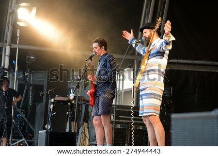 BARCELONA - JUN 13: Whomadewho (band) performs at Sonar Festival on June 13, 2014 in Barcelona, Spain. #274944443