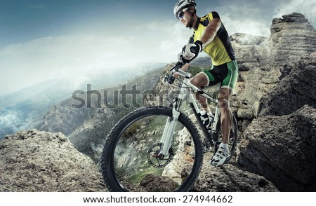 Sport. Mountain Bike cyclist riding single track  Royalty-Free Stock Photo #274944662