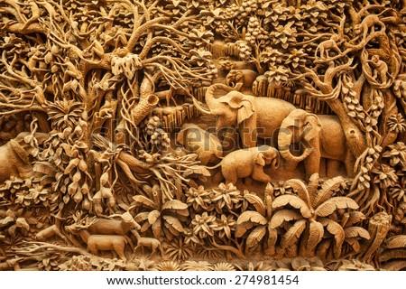 Carved Thai elephant on the wood frame #274981454