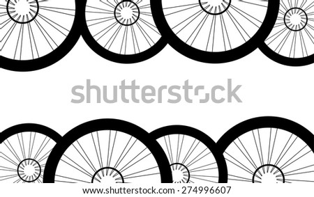 vector road and mountain bike wheels and tires pattern isolated on white background #274996607