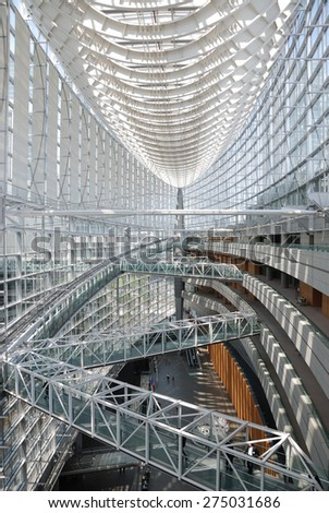 TOKYO - JULY 31, 2014: Lobby gallery of Tokyo International Forum in Chiyoda ward, Tokyo.  Completed in 1996, this 11-story building is a convention center.  #275031686