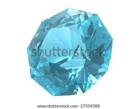 Blue topaz gemstone isolated on white background #27504388